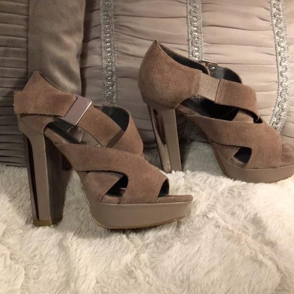 40ddba22fd Calvin Klein Shoes   Grey Suede Platform Heels   Poshmark